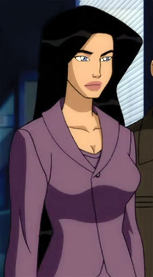 Wonder Woman (2009 animated movie version) in a purple ensemble