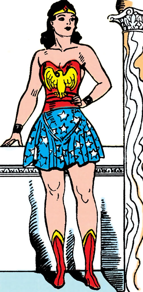Wonder Woman (DC Comics) in 1941, noble pose, Greek background