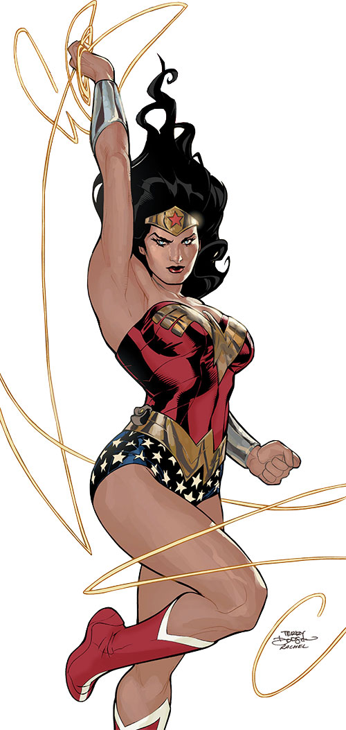 Wonder Woman (DC Comics) (Gail Simone era) posing with her lasso by Terry and Rachel Dodson