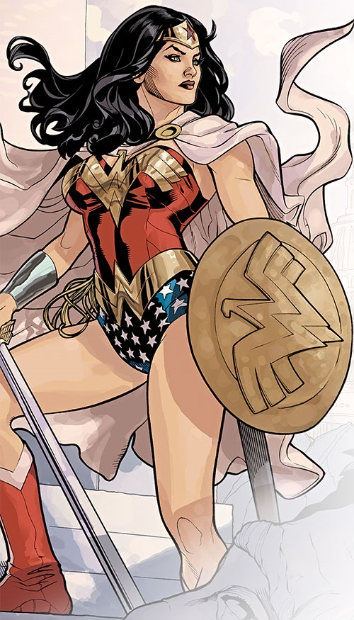 Wonder Woman (DC Comics) (Gail Simone era) with shield, cape and sword