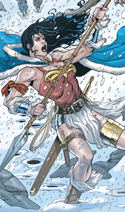 Wonder Woman (DC Comics) (Gail Simone era) fighting wolves in snow with a spear