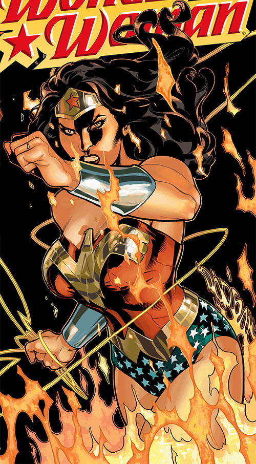 Wonder Woman (DC Comics) (Gail Simone era) in flames and darkness