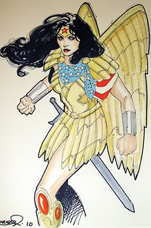 Wonder Woman (DC Comics) (Gail Simone era) sketch with golden eagle armor