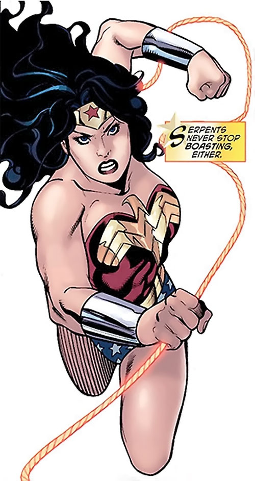 Wonder Woman (DC Comics) (Gail Simone era) flying in to punch