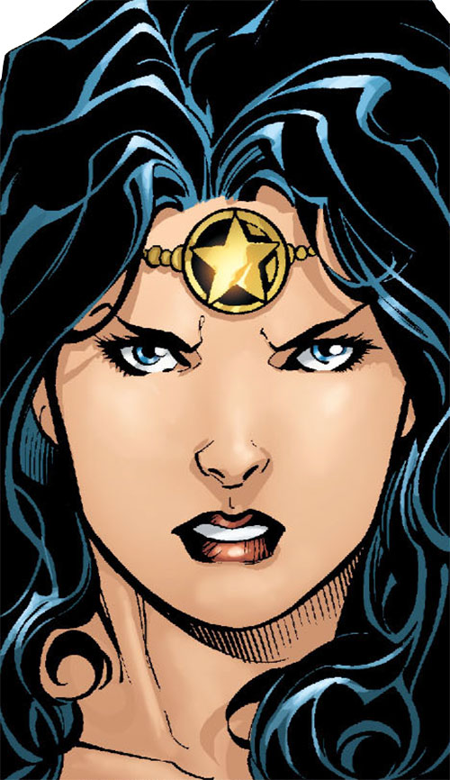 Wonder Woman (DC Comics) (Gail Simone era) face closeup with brow jewellery