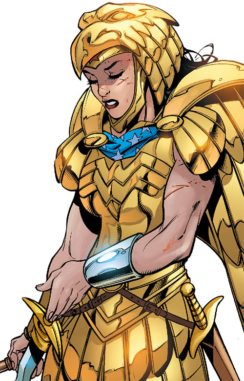 Wonder Woman (DC Comics) (Gail Simone era) in golden armor with her swords