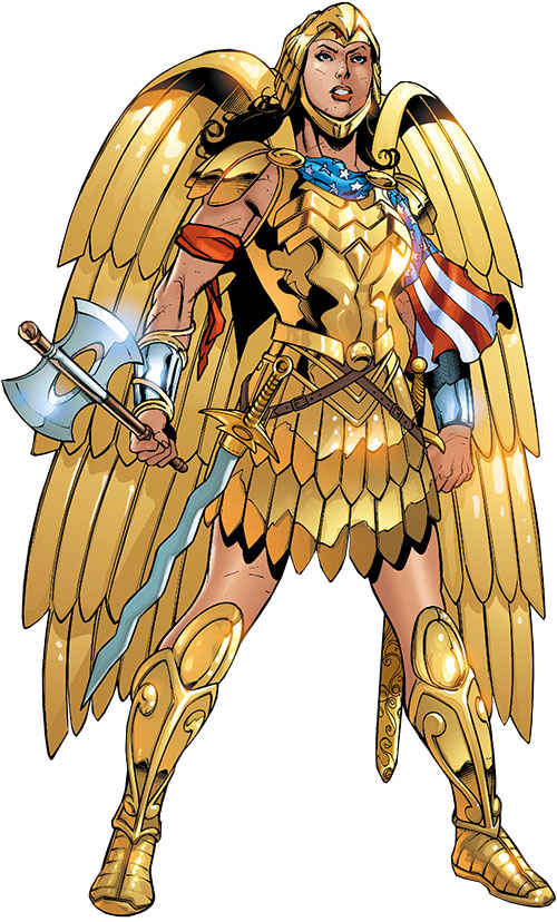 Wonder Woman (DC Comics) (Gail Simone era) with her eagle armor and weapons