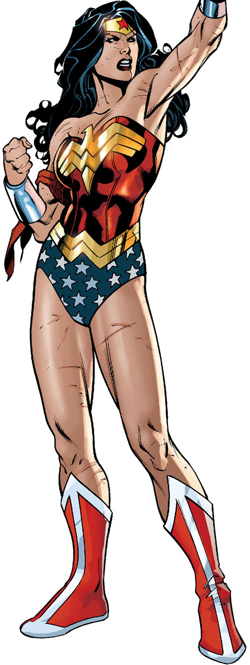 Wonder Woman (DC Comics) (Gail Simone era) battle-worn with one arm raised