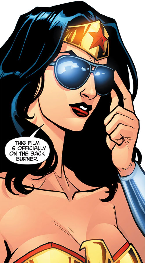 Wonder Woman (DC Comics) (Gail Simone era) dramatically putting on sunglasses
