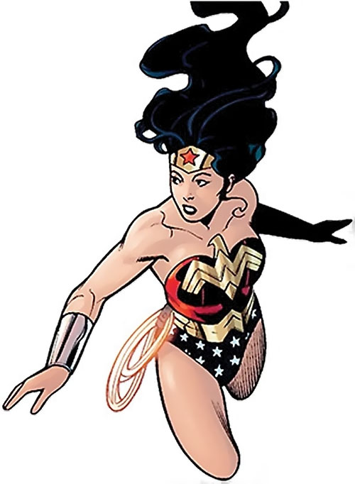 Wonder Woman (DC Comics) (Gail Simone era) flying with her hair floating