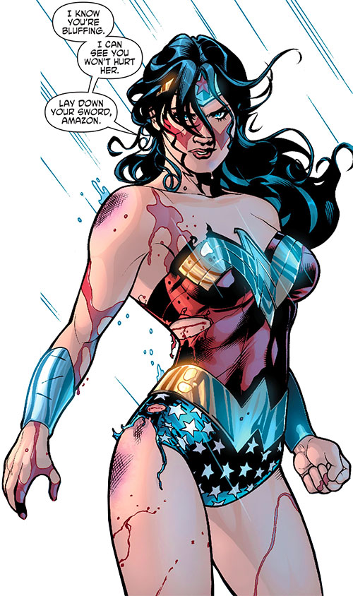 Wonder Woman (DC Comics) (Gail Simone era) bloodied in the rain