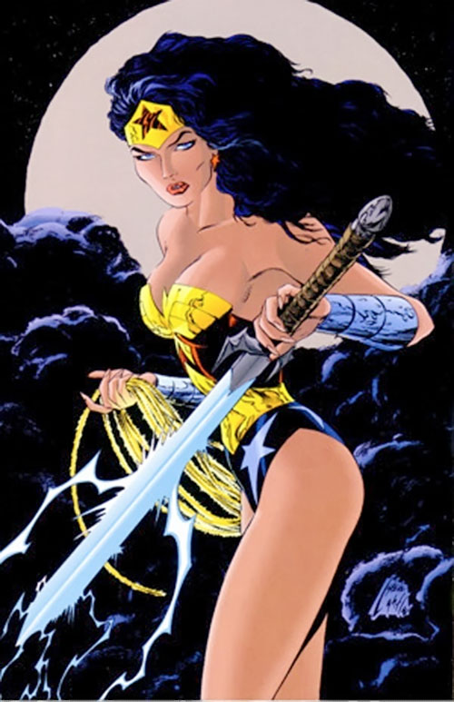 Wonder Woman (DC Comics) with a blue magical sword