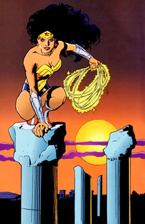 Wonder Woman (DC Comics) standing on a Greek pillar