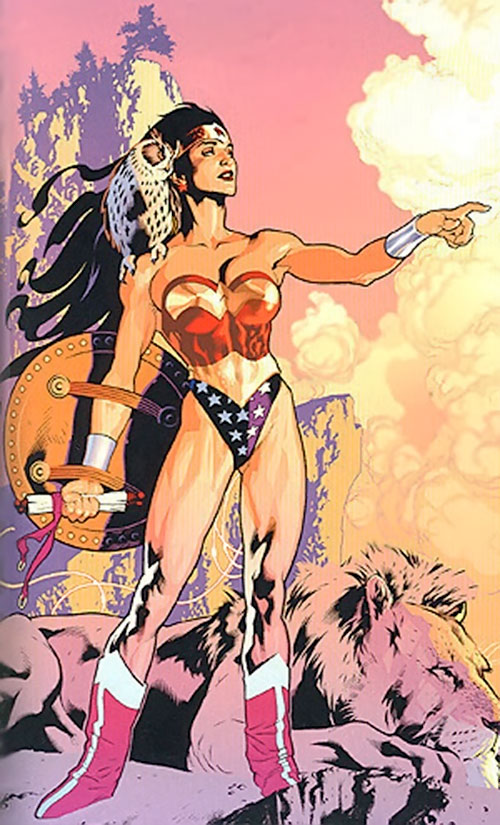 Wonder Woman (DC Comics) with a owl, shield and scroll