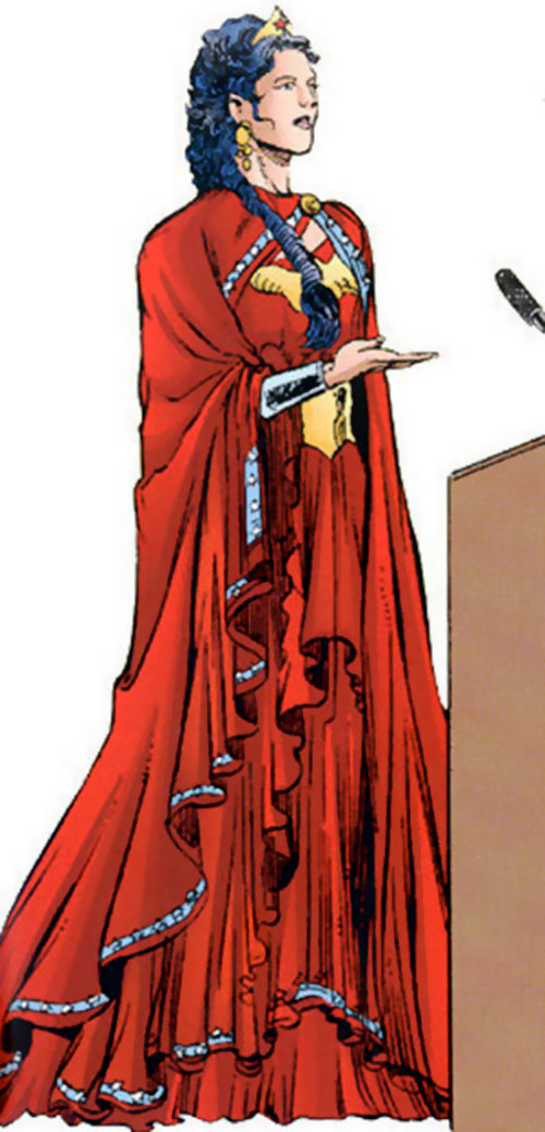Wonder Woman (DC Comics) in red ambassador robes