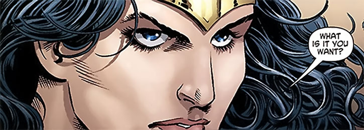 Wonder Woman's intense gaze