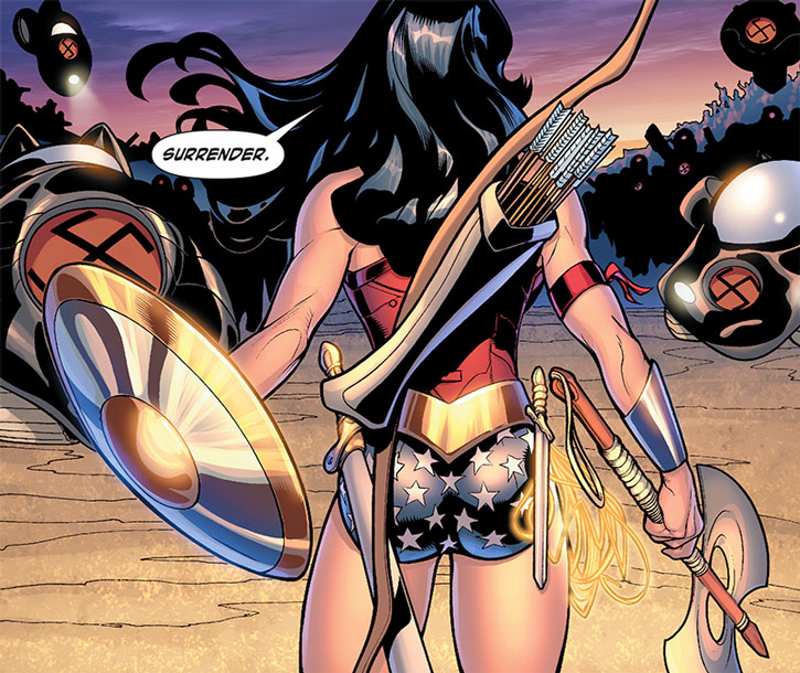 Wonder Woman carrying an arsenal against Nazis