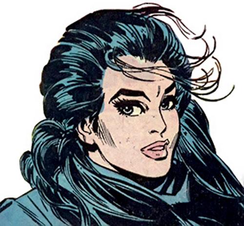 Wonder Woman Diana Prince (Karate mod era) (DC Comics) face closeup with black coat