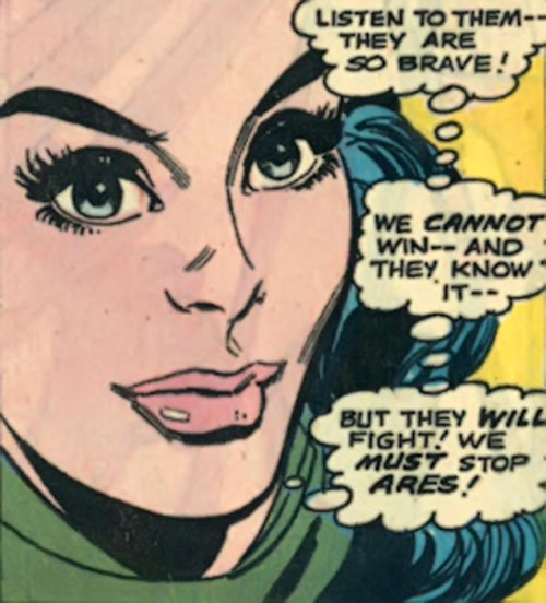 Wonder Woman Diana Prince (Karate mod era) (DC Comics) smiling face closeup