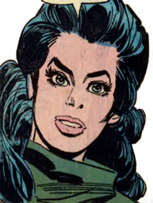 Wonder Woman Diana Prince (Karate mod era) (DC Comics) face closeup with the green catsuit