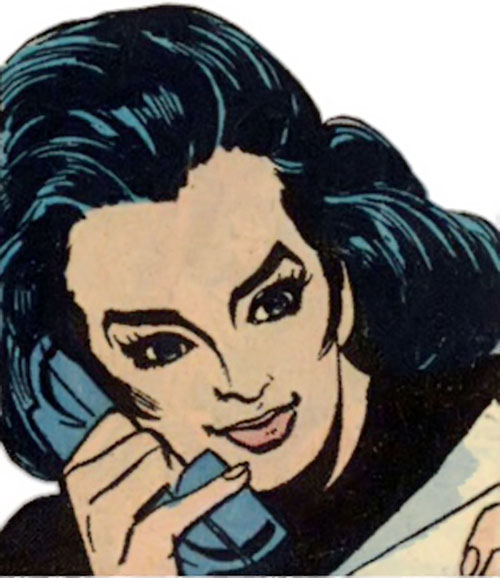 Wonder Woman Diana Prince (Karate mod era) (DC Comics) face closeup on the phone