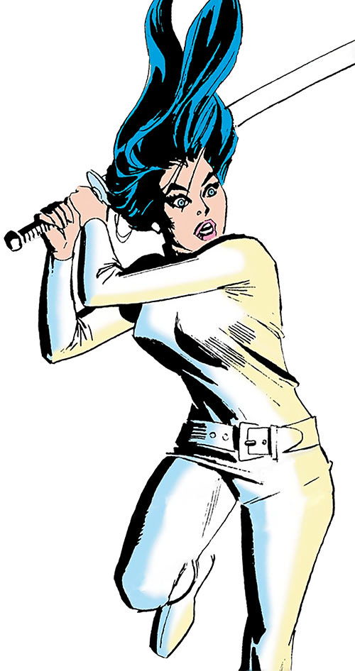 Wonder Woman Diana Prince (Karate mod era) (DC Comics) swings a large sword