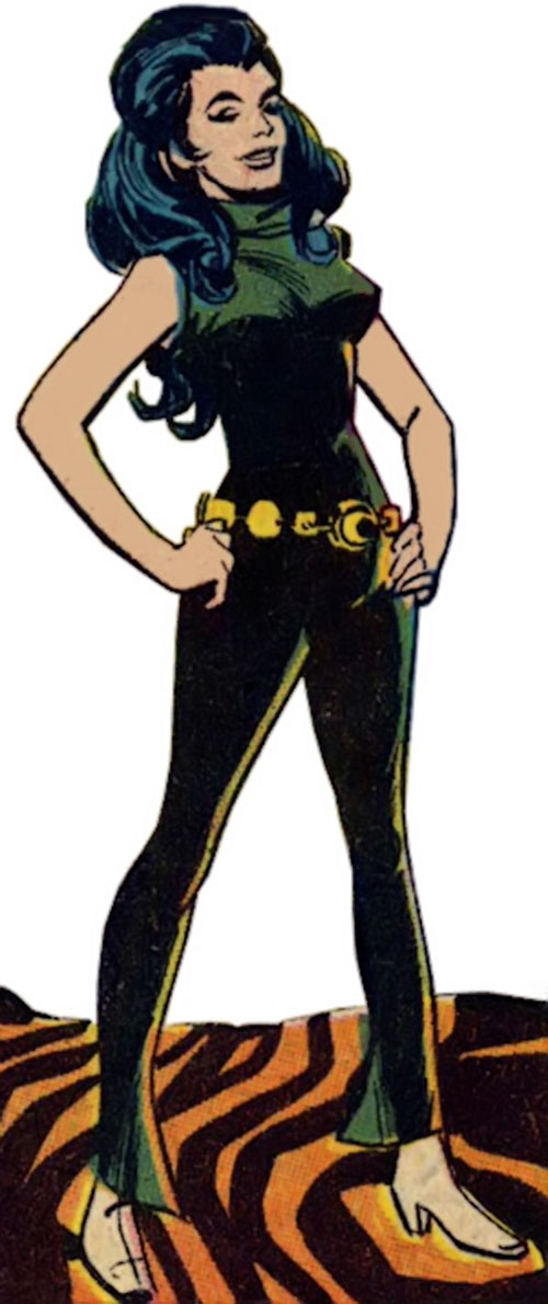 Wonder Woman Diana Prince (Karate mod era) (DC Comics) in a dark green jumpsuit and white boots