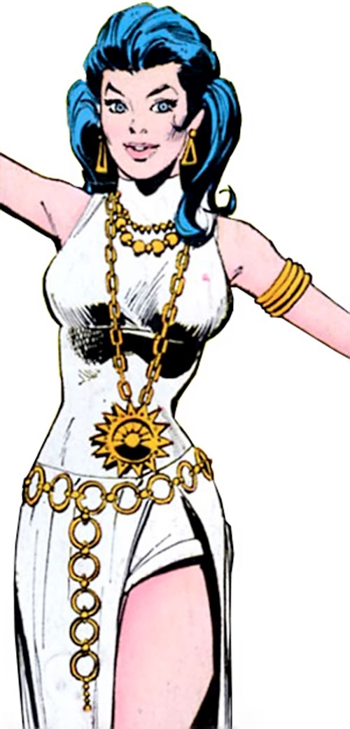 Wonder Woman Diana Prince (Karate mod era) (DC Comics) in a white cleft dress and jewellery
