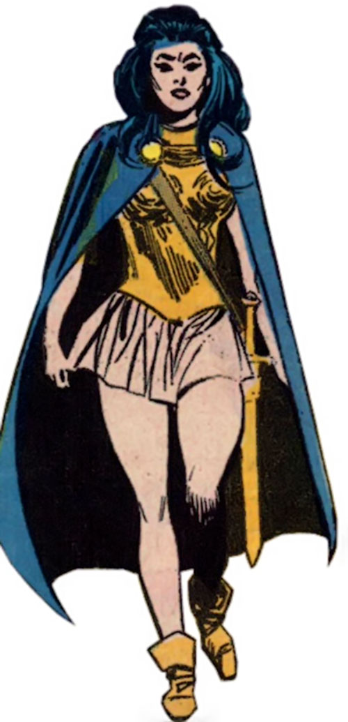Wonder Woman Diana Prince (Karate mod era) (DC Comics) in a bronze breastplate and blue cape