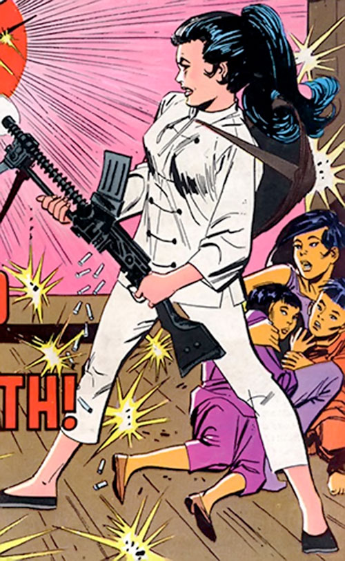 Wonder Woman Diana Prince (Karate mod era) (DC Comics) with a light machinegun