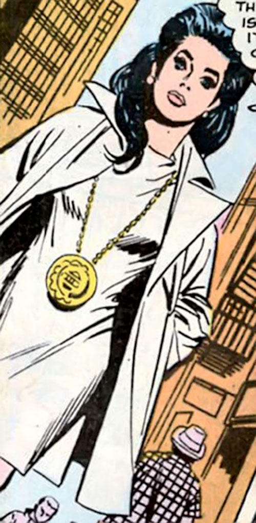 Wonder Woman Diana Prince (Karate mod era) (DC Comics) with a large medallion