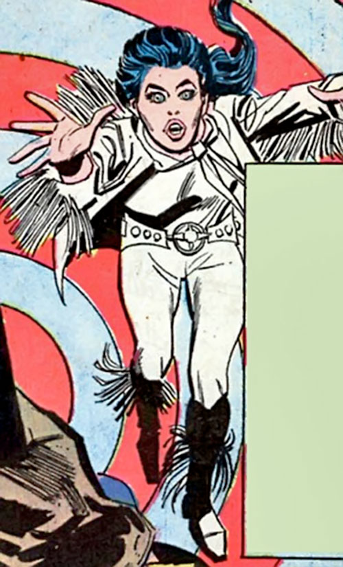 Wonder Woman Diana Prince (Karate mod era) (DC Comics) runs in a fringed vest and boots