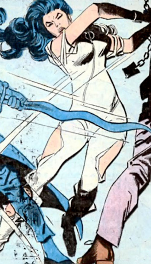 Wonder Woman Diana Prince (Karate mod era) (DC Comics) attacks with her chains