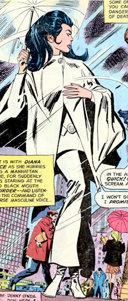 Wonder Woman Diana Prince (Karate mod era) (DC Comics) with a white umbrella