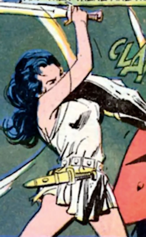 Wonder Woman Diana Prince (Karate mod era) (DC Comics) fighting with a gladius