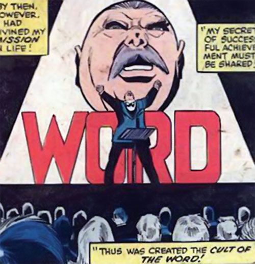 The Word (Marvel Comics) on stage addressing his cult