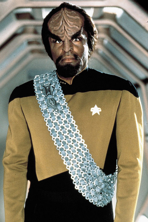 Worf (Michael Dorn in Star Trek) in a mustard uniform