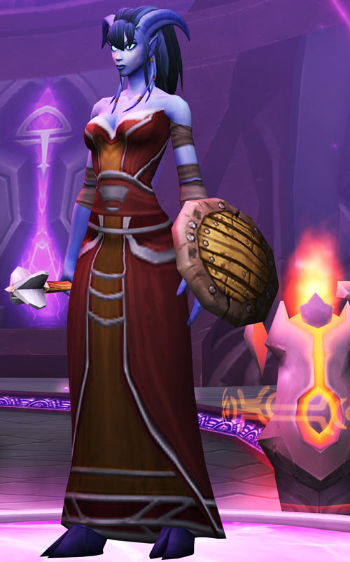World of Warcraft - Draenei shaman - Ravenstill - brown dress - mace and shield