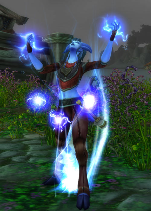World of Warcraft - Draenei shaman - Ravenstill - summoning lightning