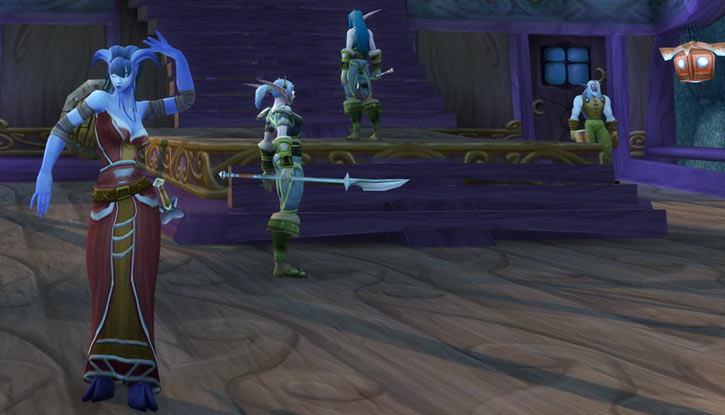 World of Warcraft - Draenei shaman - Ravenstill - dancing on the deck of an Elven ship