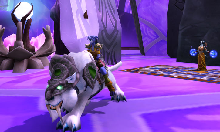 World of Warcraft - Draenei shaman - Ravenstill - on a white nightsabre in the Exodar