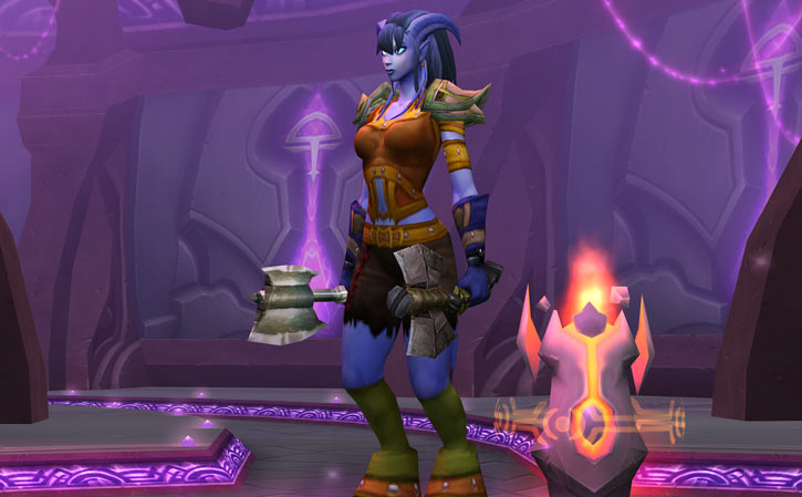 World of Warcraft - Draenei shaman - Ravenstill - twin axes and fire totem