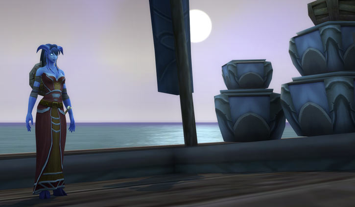 World of Warcraft - Draenei shaman - Ravenstill - on a jetty near dusk
