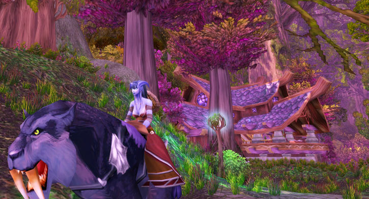 World of Warcraft - Draenei shaman - Ravenstill - riding a nightsabre on Teldrasil