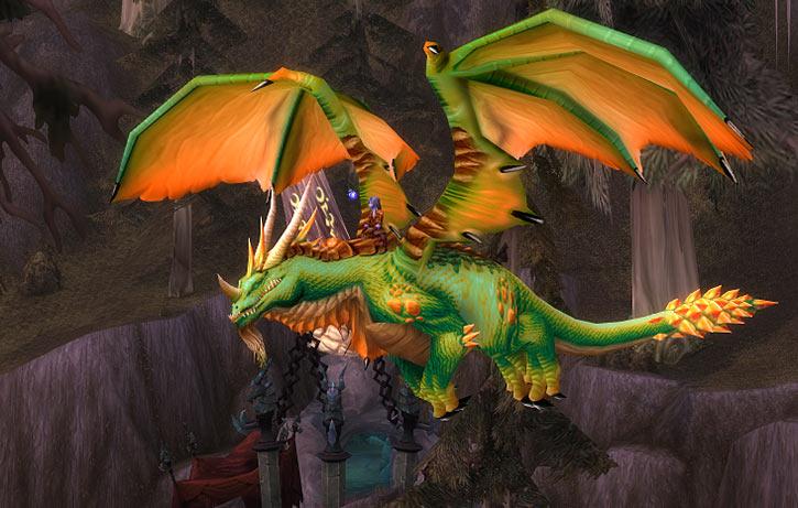 World of Warcraft - Draenei shaman - Ravenstill - riding a huge green dragon