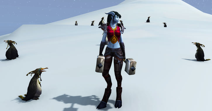 World of Warcraft - Draenei shaman - Ravenstill - twin hammers and penguins