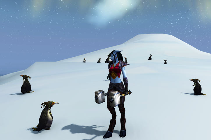 World of Warcraft - Draenei shaman - Ravenstill - looking at a penguin