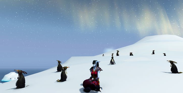 World of Warcraft - Draenei shaman - Ravenstill - sitting among penguins