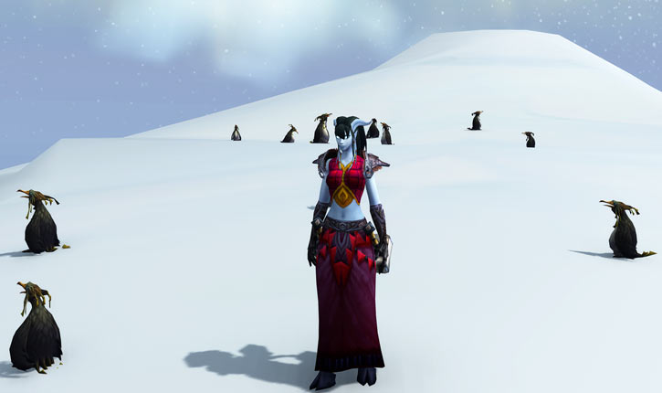 WoW draenei shaman on ice among penguins