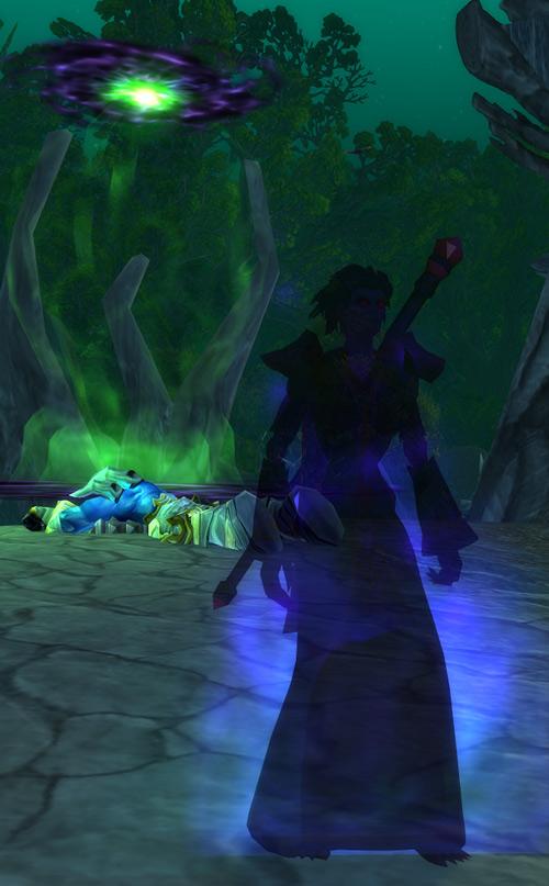 World of Warcraft - Forsaken Shadow Priest shadow form near a small demonic gate